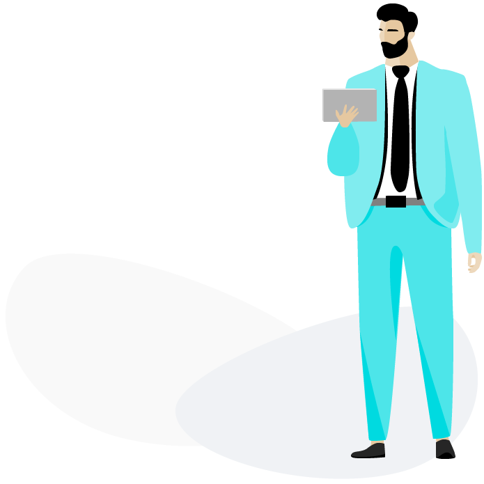 Salfy Illustration Mann mit Laptop